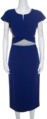Roland Mouret Royal Blue Wool Crepe Honeycomb Mesh Trim Kitero Dress L