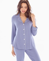 Soma Intimates Notch Collar 3/4 Sleeve Pajama Top Little Dot Blue Chill