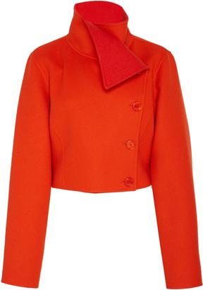 Ralph Lauren Jamie Funnel-Neck Cropped Wool Jacket