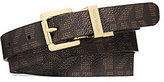 Michael Kors Reversible Logo-Print And Embossed-Leather Belt