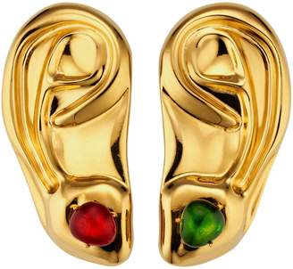 Gucci Metal ear brooches with cabochon stones