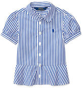 Ralph Lauren Striped Poplin Peplum Shirt