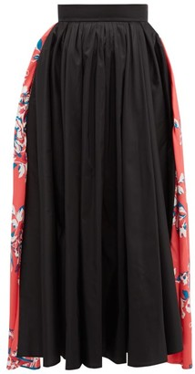 Roksanda Maia Floral Print Taffeta Midi Skirt - Womens - Black Multi