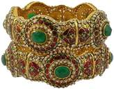 Matra Goldtone Ethnic Bollywood Screw Lock Kada Bangle Set Designer Wedding Jewelry