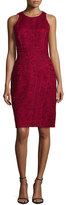 J. Mendel Sleeveless Floral-Print Sheath Dress, Maroon