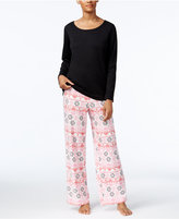 Charter Club Fleece Scoop-Neck Top and Printed Pants Pajama Set, Only at Macy's
