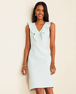 Ann Taylor Tall Doubleweave Ruffle Sheath Dress