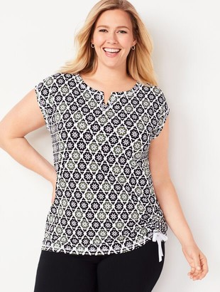 Talbots Side-Cinched Tee - Geo Blossom