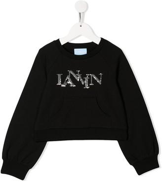 Lanvin Enfant Sequin Logo Sweatshirt