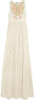 Moschino Cheap & Chic Moschino Cheap and Chic Embellished silk-paneled lace gown
