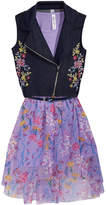 Beautees 2-Pc. Embroidered Moto Vest and Floral-Print Dress Set, Big Girls
