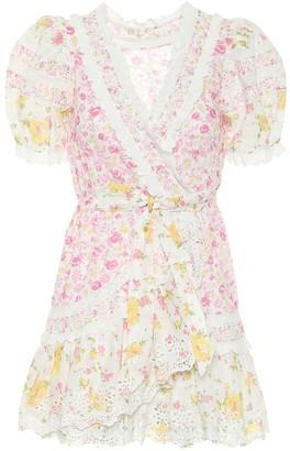 LoveShackFancy Belen floral cotton wrap dress