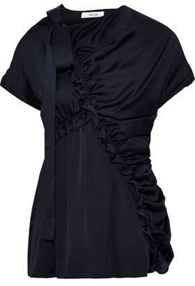 ADEAM Bow-detailed Ruched Satin Blouse