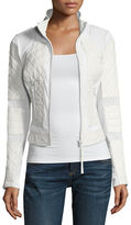 Blanc Noir Quilted Leather & Mesh Moto Jacket, Black