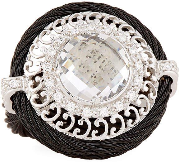 Alor Noir White Topaz Ring, Size 6.5