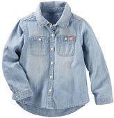 Osh Kosh Toddler Girl Long Sleeve Chambray Button-Down Shirt