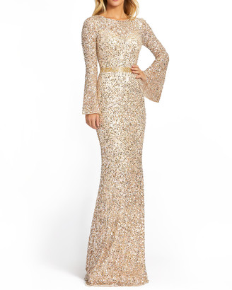 Mac Duggal Long Bell-Sleeve Sequin Column Gown