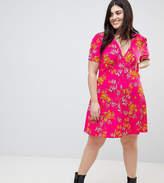Asos Mini Tea Dress With High Neck In Pink Bamboo Print