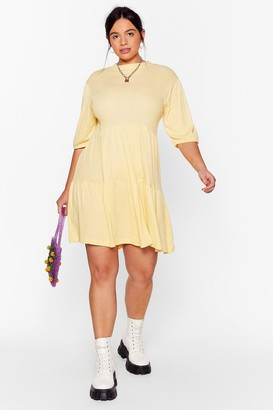 Nasty Gal Womens Smock It Off Plus Ribbed Dress - Yellow - 16