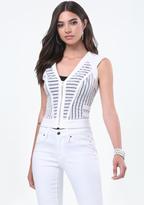 Bebe Mia Sheer Striped Vest