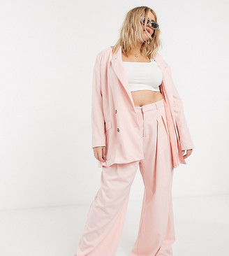 Daisy Street Plus relaxed wide leg trousers with pleat front co-ord