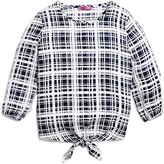 Aqua Girls' Tie Hem Plaid Blouse - Sizes S-XL