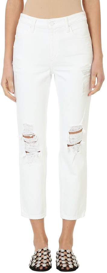 Alexander Wang Cult Destroyed White Cotton Ripped Cropped Jeans