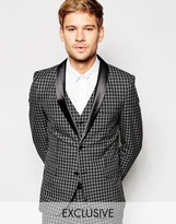 Selected Exclusive Tonal Check Tuxedo Suit Jacket in Skinny Fit
