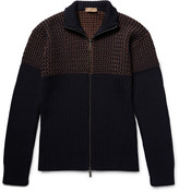 Etro - Birdseye-panelled Wool Zip-up Cardigan