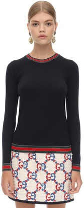 Gucci Wool Knit Sweater W/web Detail