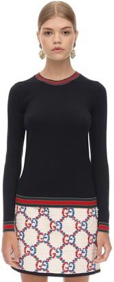 Gucci Wool Knit Sweater W/web Detail