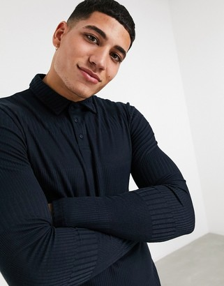 ASOS DESIGN long sleeve muscle fit fancy rib polo in navy