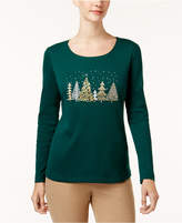 Karen Scott Cotton Embellished Tree T-Shirt, Created for Macy's