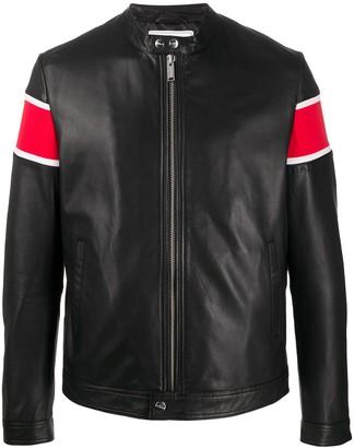 Iceberg Striped Sleeve Leather Jacket