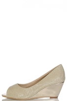 Quiz Gold Shimmer Peep Toe Wedges