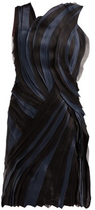 Lanvin Tiered Silk Voile And Satin Mini Dress - Womens - Black