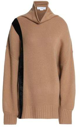 Amanda Wakeley Velvet-Trimmed Cashmere Turtleneck Sweater