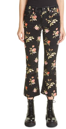R 13 Floral Print Kick Fit Crop Jeans