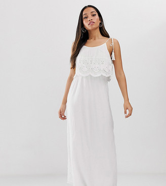 Brave Soul Petite broderie anglais maxi dress in white