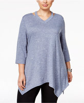 Style&Co. Style & Co Plus Size Space-Dyed V-Neck Top, Only at Macy's