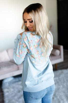 Ampersand Avenue Floral Accent Pullover - Blue on Blue