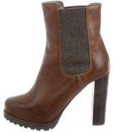 Brunello Cucinelli Leather Platform Ankle Boots