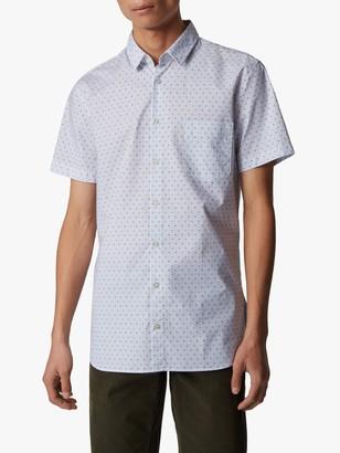 HUGO BOSS Magneton Card Print Short Sleeve Slim Fit Shirt, Natural