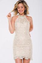 Jovani JVN40859 Halter Neck Lace Fitted Cocktail Dress
