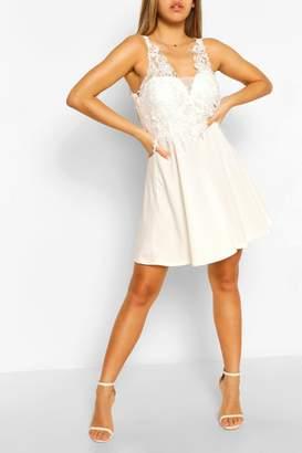 boohoo Crochet Lace Skater Dress