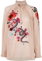 Roberto Cavalli embroidered floral top - women - Silk - 42
