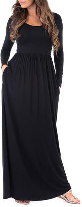 California Trading Group Women's Maxi Dresses Black - Black Pocket-Accent Maxi Dress - Women & Plus