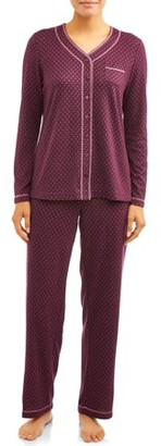 Secret Treasures Women's and Women's Plus 2-Piece Traditional Long Sleeve V-neck and Pant Sleep Set