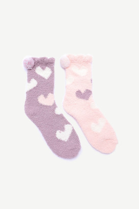 Ardene Heart Print Cozy Socks