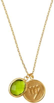 Ottoman Hands Virgo Zodiac Necklace With Peridot Charm